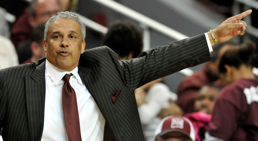 Aggies coach Marvin Menzies directs his players during the game against UNM in the Pan American Center in Las Cruces, NM on Wednesday, December 28, 2011.